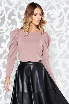 StarShinerS rosa elegant sweater knitted fabric with puffed sleeves shimmery metallic fabric What Should I Wear Today, October 19, Puffed Sleeves, Product Label, Knitted Fabric, Soft Fabrics, Knitwear, Leather Skirt, Metallic