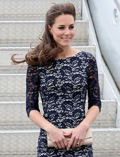 kate mid - navy lace dress