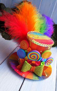 Mini Top Hat Headband Rainbow Mini Top Hat Mad Hatter Hat Tea Party Hat  Alice in Wonderland Hat Fasc a7731e6b8f7b