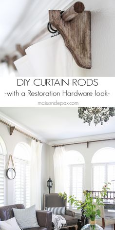 DIY Curtain Rods (Restoration Hardware Inspired) - Maison de Pax - these are awesome! DIY real wood curtain rods with a Restoration Hardware look for a fraction of th - Rustic Furniture, Diy Furniture, Furniture Design, Furniture Hardware, Chair Design, Modern Furniture, Wood Curtain Rods, Farmhouse Curtain Rods, Farmhouse Curtains