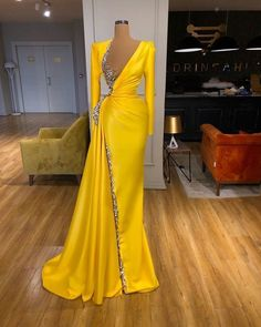 yellow long sleve satin Long Prom Dress | VestidosProm Prom Girl Dresses, Prom Outfits, Glam Dresses, Sexy Dresses, Fashion Dresses, Prom Dress, Gown Dress, Formal Dresses, Stunning Dresses