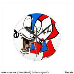 Jacks in the Box (Clown Sketch) Round Wall Clock