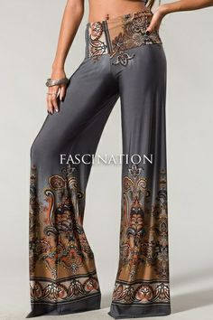 $31.95 Plus Size Palazzo Pants Paisley Charcoal - Kelly Brett Boutique