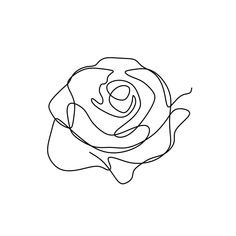 Flower Continuous One Line Art Drawing Vector Illustration Awesome Rose Isolated On White Background Vector and PNG Rose Line Art, Line Art Flowers, Flower Line Drawings, Line Flower, Outline Drawings, Art Drawings, Rose Outline Drawing, Indie Drawings, Rose Drawings