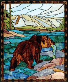 Wildlife Stained Glass Windows   Wilderness Window   Deer  Grizzly   Loon   Ducks   Eagle   Fly Fishing