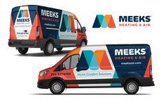 Truck wrap design for Meeks Heating & Air - NJ Advertising Agency NJ Ad Agency NJ Truck Wrap Design NJ Vehicle Wrap Design Nissan Pickup Truck, Wrap Advertising, Advertising Agency, Truck Toddler Bed, Truck Interior Accessories, Van Signage, Vehicle Signage, Vehicle Lettering, Cute Vans