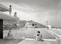 "Haifa, British Mandate Palestine, circa ""Swimming pool at the Casino, Bat Galim neighborhood. Shorpy Historical Photos, Promised Land, Haifa, Holy Land, High Resolution Photos, Vintage Photographs, Vintage Photos, Photo Archive, Amazing Photography"
