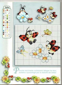 Coccinelle Cross Stitch Boarders, Cross Stitch Baby, Cross Stitch Alphabet, Cross Stitch Animals, Cross Stitch Flowers, Cross Stitch Charts, Cross Stitch Designs, Cross Stitching, Cross Stitch Embroidery
