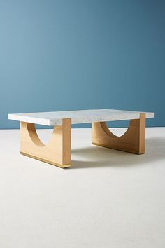 Slide View: 3: Polished Marble Coffee Table