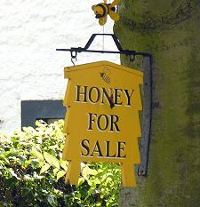 Gorgeous honey-for-sale sign #bee #hive