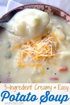 This is one of my favorite easy dinner recipes! It takes just 3 easy ingredients to make this delicious, creamy potato soup recipe! Best of all, it takes 20 minutes or less!