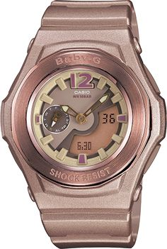 Baby-G pink resin band analog and digital watch