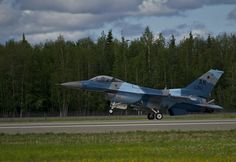 A U.S. Air Force F-16 Fighting Falcon from the 18th Aggressors Squadron, lands at Eielson AFB, Alaska after completing a combat training mission, June 14, 2012, during Red Flag-Alaska.
