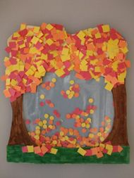 So fun...falling leaves inside ziploc bag.