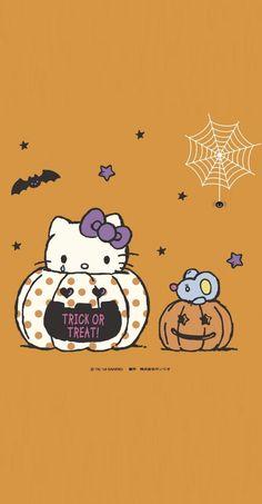 Hello Kitty Iphone Wallpaper Lights, Fall Wallpaper, Pink Wallpaper, Butterfly Wallpaper, Hello Kitty Halloween, Kawaii Halloween, Halloween Cat, Sanrio Wallpaper, Hello Kitty Wallpaper