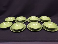 Melmac Green Dishes Lot of 14 Bread Butter Plate and Dessert Bowls Camping