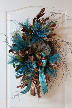 Elegant Christmas Wreath Beautiful Teal & by FloralsFromHome, $146.00