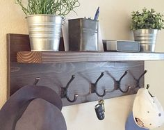 Coat Rack with Floating Shelf and Hooks  Small Rustic Coat