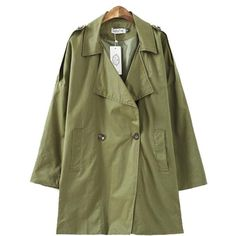 Attractive Lapel Breasted With Pockets Trench-coats (2.370 RUB) ❤ liked on Polyvore featuring outerwear, coats, long sleeve coat, green coat, long lapel coat, trench coat and long green coat