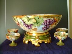 Incredible Limoges Grape Punch Bowl Set: Punch Bowl, from southernclassics on Ruby Lane