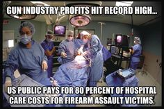 The latest research shows US public pays for 80 percent of hospital care costs for firearm assault victims. -MP http://alj.am/1a48jyo