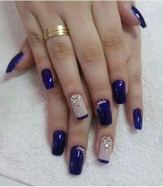 Fancy nails, pretty nails, creative nails, blue and silver nails, cobalt blue New Nail Designs, Acrylic Nail Designs, Acrylic Nails, Acrylic Art, Stylish Nails, Trendy Nails, Blue And Silver Nails, Nailart, Super Nails