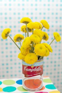 Campbell's Soup Can Vase for a Baby Shower Party