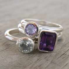 Three Amethyst Stacking Set Grape Purple Lavender by onegarnetgirl, $318.00