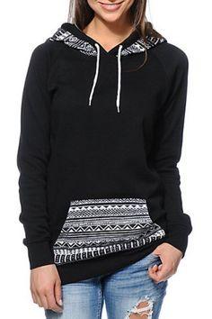 Chic Hooded Long Sleeves Geometric Print Women's Hoodie Sweatshirts & Hoodies | RoseGal.com Mobile