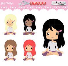 Chibi Yoga chica Kawaii Yogi Clip art