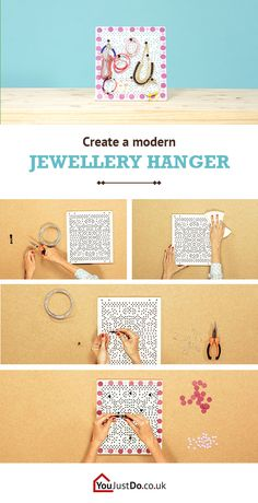 Create a pretty hanger for your pretty jewellery. Make your favourite jewels shine in their own altar made especially for them. Discover other great projects at www.youjustdo.co.uk