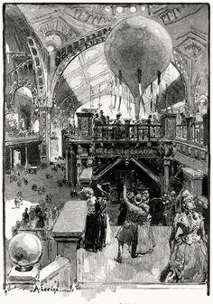 The palace of liberal arts.    Auguste Lepère, from L'exposition universelle de 1889 (The 1889 Paris world fair) vol. 1, by Émile Monod, Paris, 1890.