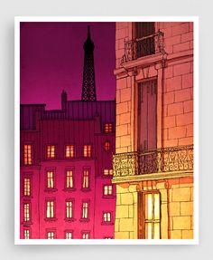 Paris illustration Paris windows night version Art by tubidu