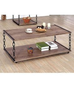 Give your living space some transitional edge with this Furniture of America Marley Chain Legged 2 Piece Coffee Table Set . Equipped with eye-catching. Coffee Table End Table Set, Rustic Coffee Tables, Coffee Table Design, Sofa End Tables, Coffee Table With Storage, End Table Sets, Rustic Table, Shabby Chic Furniture, Rustic Furniture