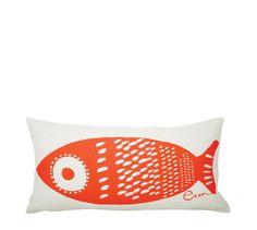 Tuna fish cotton lumbar pillow.Coastal decor