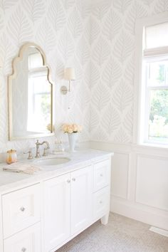 modern farmhouse bathroom design, cottage bathroom decor, neutral bathroom design white cabinets and wallpaper and tile floor, neutral powder room, farmhouse powder room decor and arch mirror Cheap Home Decor, Bathroom Interior, Bathroom Decor, Interior, Bathrooms Remodel, Neutral Bathrooms Designs, House Interior, Cottage Bathroom Decor, White Decor
