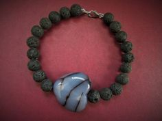 Lava Rock Bracelet Featuring a Black and White by RobertaJune