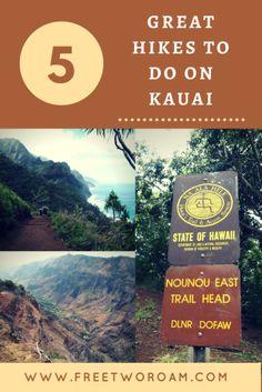 Great Hikes to Do on Kauai If you love hiking, then you'll love Kauai! Find out about 5 great hikes to do on the green island of Hawaii.:If you love hiking, then you'll love Kauai! Find out about 5 great hikes to do on the green island of Hawaii. Kauai Vacation, Hawaii Honeymoon, Hawaii Travel, Travel Usa, Travel Tips, Honeymoon Ideas, Italy Travel, Travel Ideas, Vacation Ideas