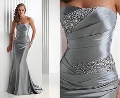 love it! Gray Elistic Satin Wedding Dress from Keren Wedding.  150 dollars! NEW YEARS EVE??