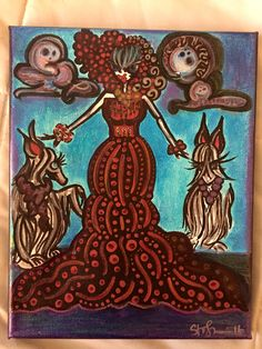 """Painting: 'Glam Hounds & Gown' - 8 x 10"""" mixed media on canvas (Free Shipping!) by AlabasterandObsidian on Etsy"""