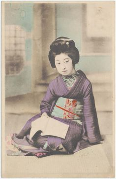 Woman Reading a Book, Late Meiji–Taishô era Artist Unknown, Japanese. Collotype with hand coloring; ink on card stock.  13.8 x 8.8 cm (5 7/16 x 3 7/16 in.).  Museum of Fine Arts, Boston, 2002.17812.