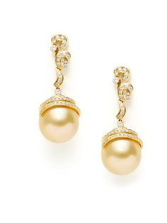 14 x 15mm golden south sea cultured pearl and 18K yellow gold drop earrings with pave diamond swirl details by Tara Pearls.