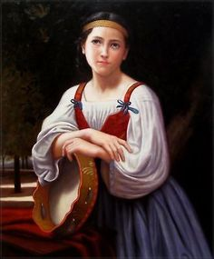 Repro Bouguereau Gypsy Girl with a Basque Drum, 1867 20x24in