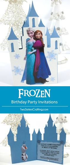 DIY Frozen Birthday Party Invitations made with a Cricut, scrapbook paper and print-outs of Disney characters Elsa and Anna. This is a fun craft project that will make your party invitations really stand-out. Follow us for more great Frozen Party Ideas.