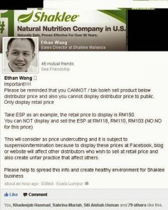 Warning from Ethan Wong, Sales Director Shaklee Malaysia