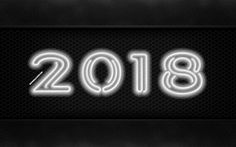 Download wallpapers 2018 year, 4k, neon digits, creative, metal background, 2018, New Year 2018