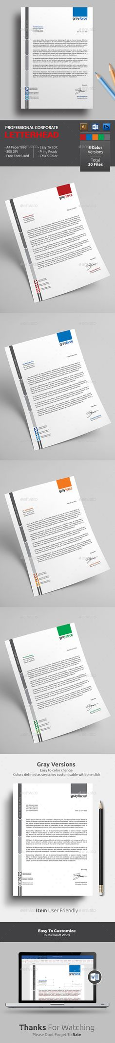 Buy Letterhead by themedevisers on GraphicRiver. Corporate Letterhead Template with super modern and Corporate look. Corporate Letterhead page designs are very easy . Letterhead Format, Letterhead Printing, Company Letterhead, Stationery Printing, Letterhead Design, Letterhead Template, Stationery Items, Professional Letterhead, Print Templates