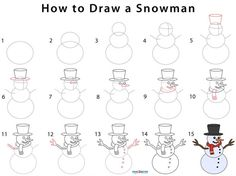 How to Draw a Snowman (Step by Step Pictures) Draw A Snowman, Cute Snowman, How To Draw Venom, How To Draw Lightning, Olaf Drawing, Bridge Drawing, Step Kids, Lightning Mcqueen, Four Leaf Clover