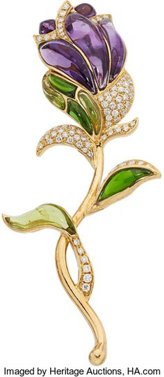 Diamond, Multi-Stone, Gold Brooch. The brooch features full-cut Diamonds weighing a total of approximately 1.15 carats, accented by Amethyst, Peridot and green Tourmaline cabochons, set in 18k Gold. Gross weight 26.30 grams. Dimensions: 3-5/8 inches x 1-1/2 inches
