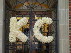 The Flower Cupboard - Virginia Florists - Large, hanging floral initials of white roses